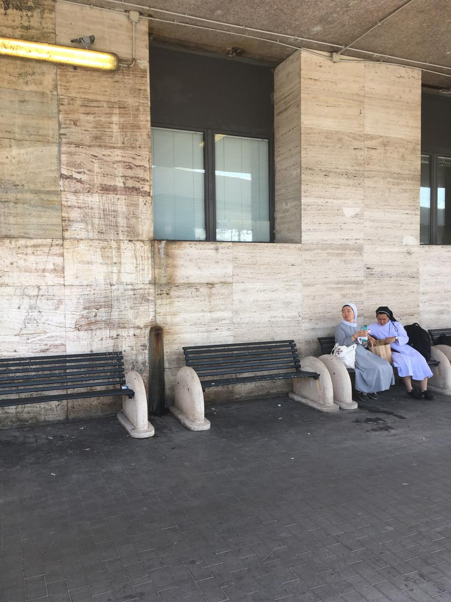 Nancy Lupo, Visual Arts Center, two nuns sitting on public bench
