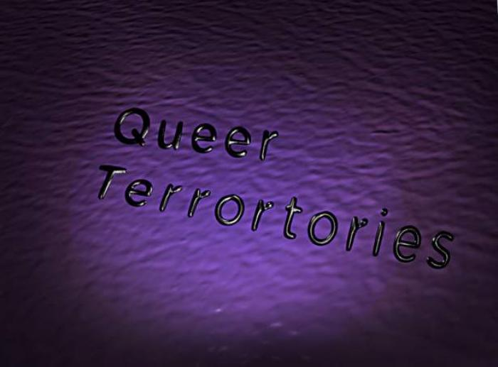 title card for Queer Terrortories exhibition at Visual Arts Center, UT Austin