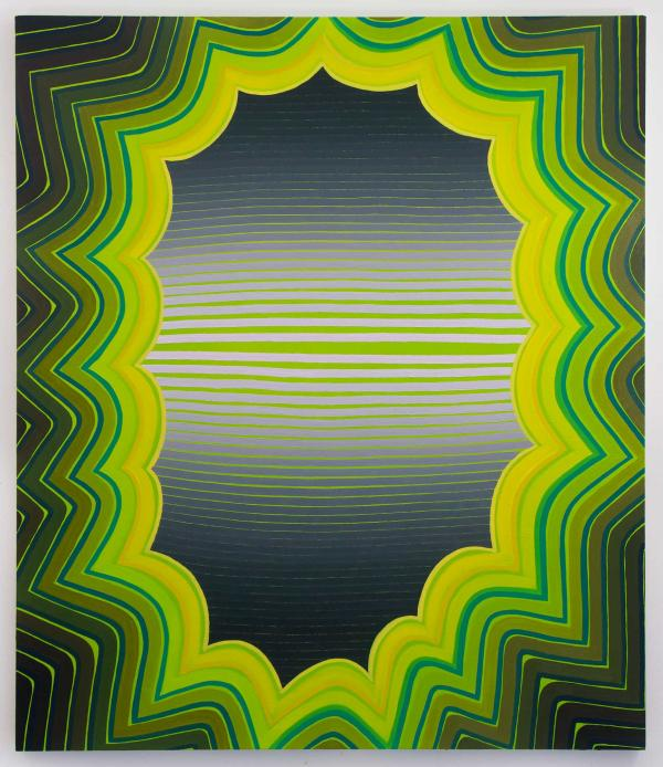 Beverly Acha, Visual Arts Center, abstract painting in green yellow and gray