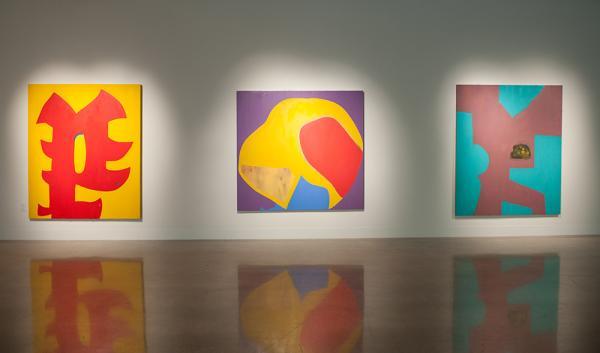 installation image from studio art MFA thesis exhibition, Visual Arts Center, UT Austin