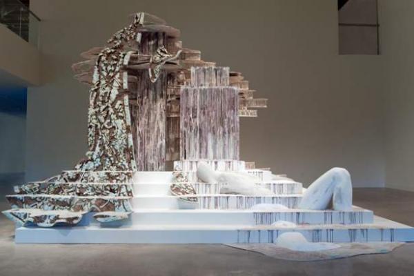 work by Diana Al-Hadid, Visual Arts Center, UT Austin