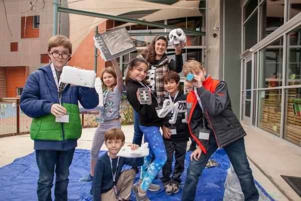 kids at art making workshop