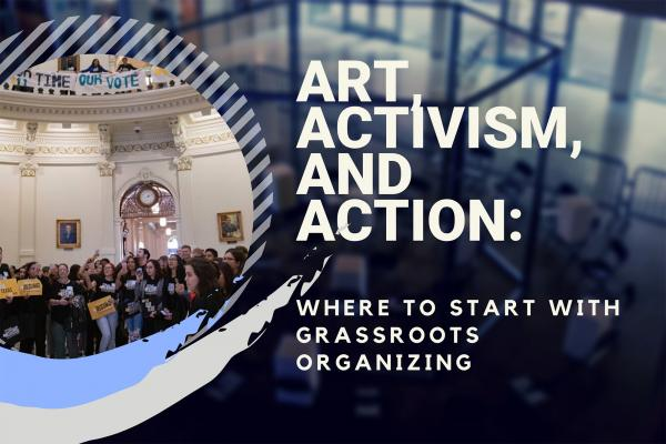 graphic for art and activism event, Visual Arts Center, UT Austin