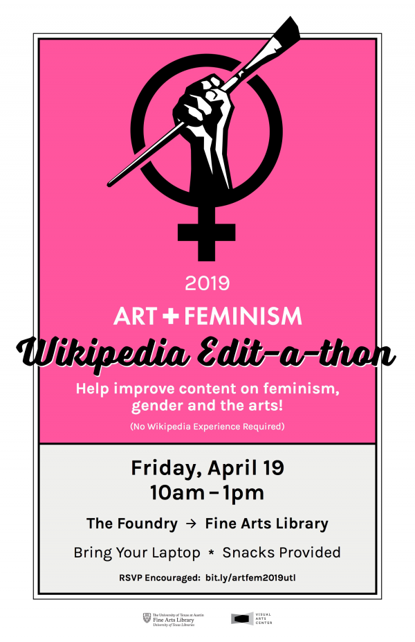 poster for Art+Feminism Wikipedia Edit-a-thon