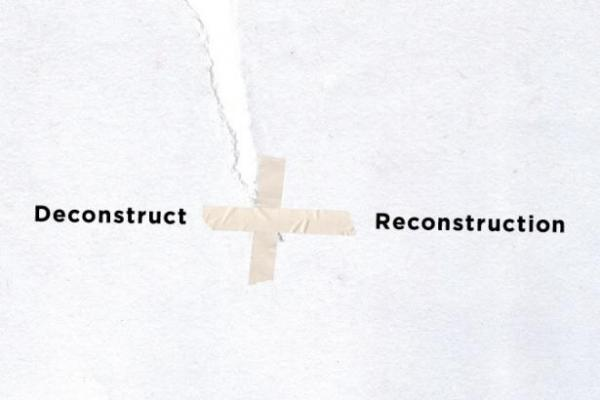 "postcard image for ""Deconstruct + Reconstruction"" exhibition at Visual Arts Center, UT Austin"