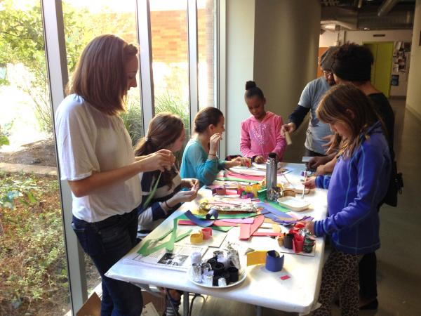 families participating in art making activity