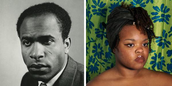 image of Frantz Fanon (left) and artwork by Madison Cooper (right)