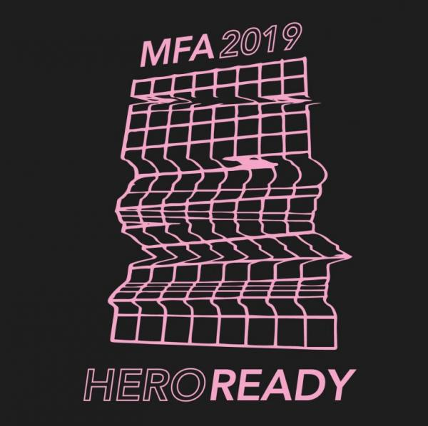 "graphic for ""Hero Ready"" Studio MFA exhibition, Visual Arts Center, UT Austin"