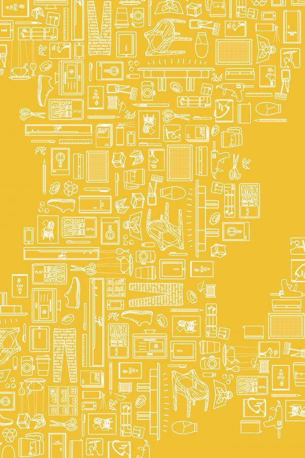 graphic for senior design exhibition, Visual Arts Center, UT Austin