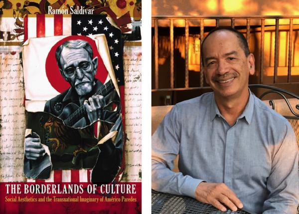 left: book cover for 'The Borderlands of Culture: Américo Paredes and the Transnational Imaginary' / right: headshot for Ramon Saldivar