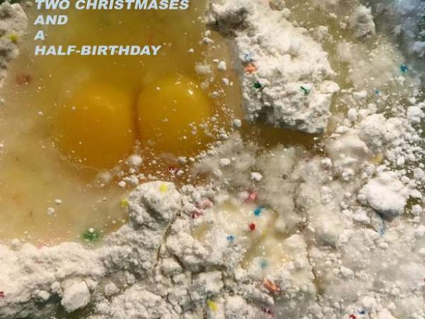 title image for Two Christmases and a Half-Birthday exhibition, Visual Arts Center