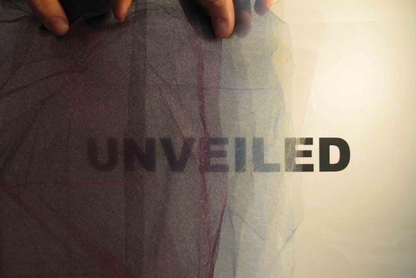 "postcard image for ""Unveiled"" exhibition at Visual Arts Center, UT Austin"