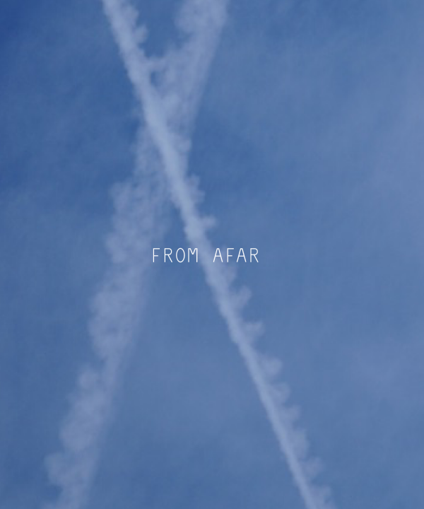 blue sky with contrails and the words From Afar overlaid