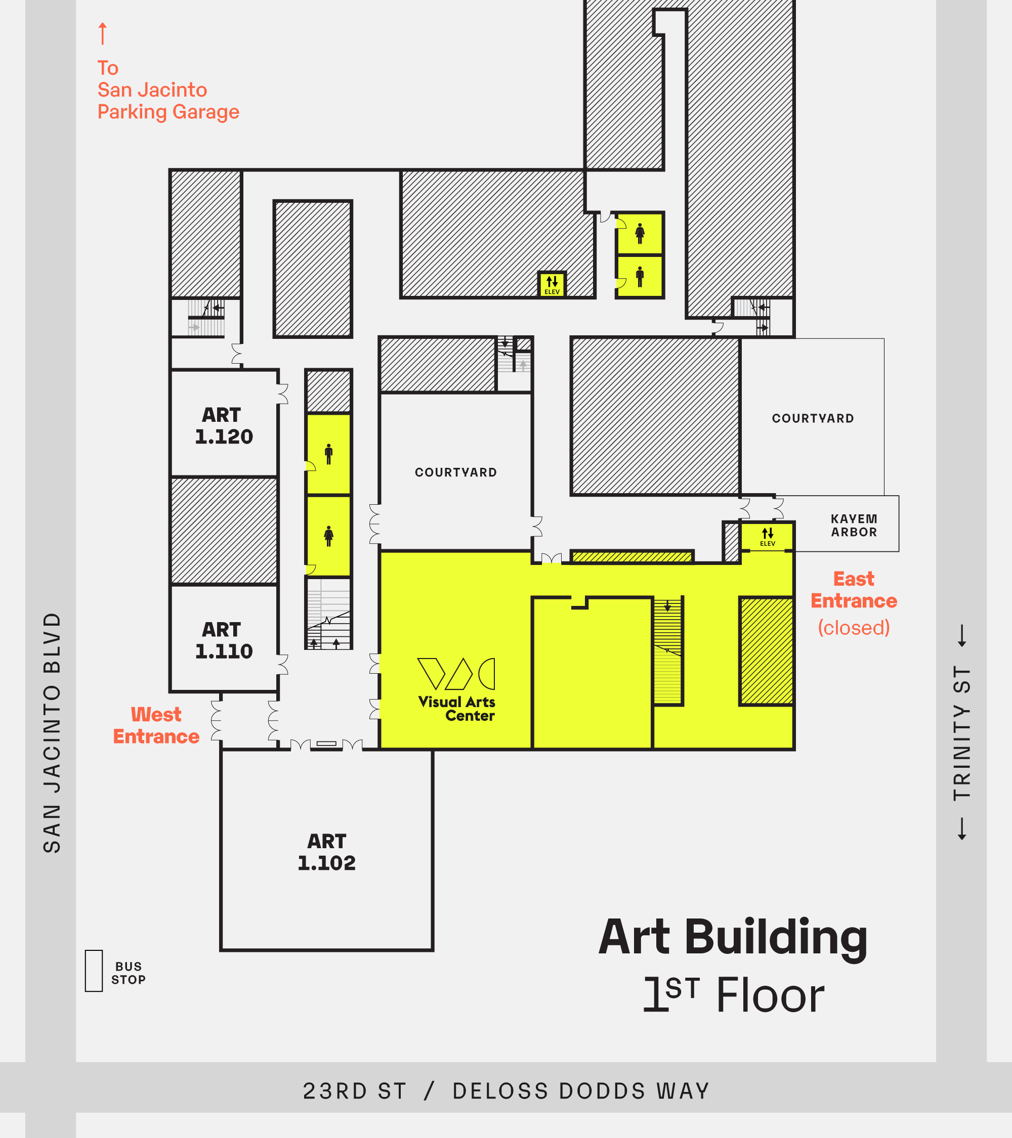 map of Visual Arts Center and relevant spaces within the Art Building